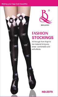 Thigh high stocking in black with skulls