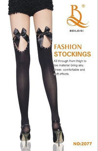Thigh high stocking in black with bolds at top